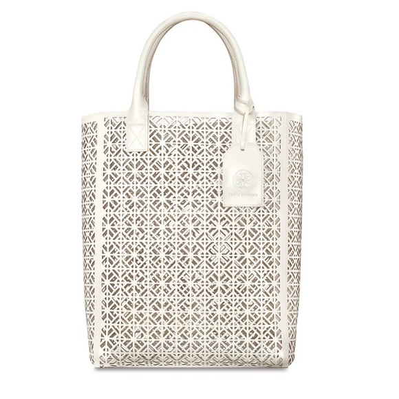 96c3c0fd85d NEW Tory Burch White ivory Perforated Tote Bag